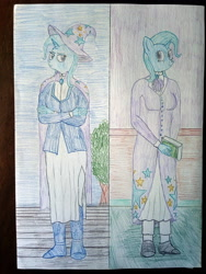 Size: 3000x4000 | Tagged: safe, artist:mildgyth, derpibooru exclusive, trixie, anthro, plantigrade anthro, mlp fim's tenth anniversary, ziragshabdarverse, book, boots, cape, clothes, hat, older, older trixie, shoes, skirt, solo, stockings, thigh highs, traditional art, tree, trixie's cape, trixie's hat