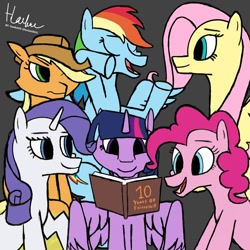 Size: 1080x1080 | Tagged: safe, artist:haekal20, applejack, fluttershy, pinkie pie, rainbow dash, rarity, twilight sparkle, alicorn, earth pony, pegasus, pony, unicorn, mlp fim's tenth anniversary, book, chatting, group, happy birthday mlp:fim, mane six, memories, reading, together, together forever