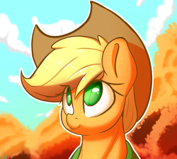 Size: 1480x1334 | Tagged: safe, artist:welost, applejack, earth pony, pony, clothes, cloud, cowboy hat, cute, female, hat, jackabetes, mare, solo