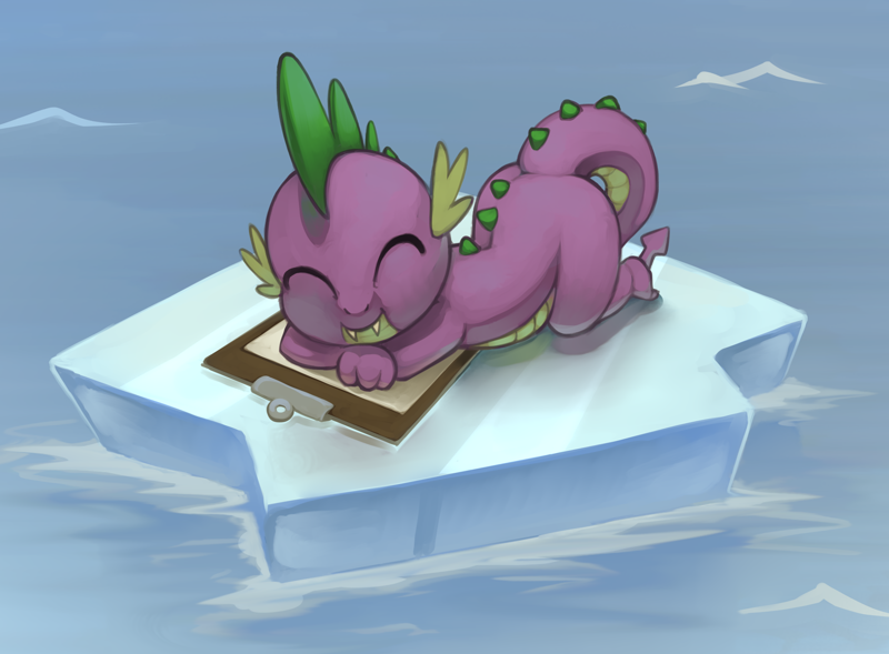 Size: 2192x1613 | Tagged: safe, artist:marsminer, spike, dragon, mlp fim's tenth anniversary, winter wrap up, ^^, clipboard, cute, eyes closed, featured image, happy birthday mlp:fim, ice, lying down, male, ocean, prone, scene interpretation, sleeping, smiling, solo, spikabetes, sweet dreams fuel, this will end in tears, water
