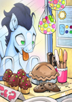 Size: 955x1351 | Tagged: safe, artist:mysticalpha, soarin', pegasus, pony, bakery, candy, cookie, cupcake, eclair, food, heart eyes, looking at something, male, open mouth, pie, solo, stallion, that pony sure does love pies, tongue out, want, wingding eyes