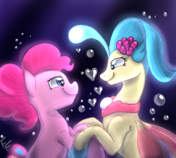 Size: 2000x1788 | Tagged: safe, artist:ponykittenboi, pinkie pie, princess skystar, seapony (g4), my little pony: the movie, blue eyes, bubble, eyelashes, female, fin wings, fins, flower, flower in hair, heart bubbles, heart eyes, holding hooves, jewelry, lesbian, looking at each other, love, necklace, pearl necklace, seaponified, seapony pinkie pie, shipping, signature, skypie, smiling, species swap, underwater, water, wingding eyes, wings