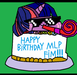 Size: 540x520 | Tagged: safe, twilight sparkle, unicorn, mlp fim's tenth anniversary, bongo cat, cake, drawing, female, food, happy birthday mlp:fim, party, solo