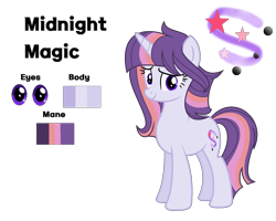 Size: 2050x1640 | Tagged: safe, artist:stellamoonshine, oc, oc:midnight magic, pony, unicorn, female, mare, reference sheet, simple background, solo, transparent background