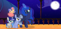 Size: 5368x2568 | Tagged: safe, artist:stellamoonshine, princess luna, oc, oc:comet flare, oc:luminous moon, oc:stella moonshine, pony, 5-year-old, baby, baby pony, female, filly, magic, moon, offspring, parent:flash sentry, parent:princess luna, parent:stygian, parent:sunset shimmer, parents:flashimmer