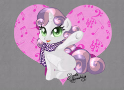 Size: 900x654 | Tagged: safe, artist:nemoturunen, sweetie belle, pony, unicorn, clothes, deviantart watermark, female, filly, heart, looking at you, obtrusive watermark, open mouth, scarf, sitting, solo, watermark