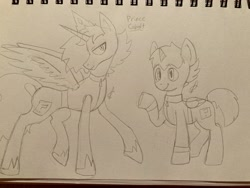 Size: 4032x3024 | Tagged: safe, artist:roachtoon, oc, oc:cobolt sky, alicorn, pegasus, pony, alternate universe, cobolt sky, irl, male, photo, prince, royalty, sketch, traditional art