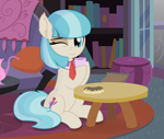 Size: 2313x1959 | Tagged: safe, artist:cyanlightning, artist:mlp-silver-quill, artist:slb94, edit, vector edit, coco pommel, earth pony, pony, cocobetes, coffee cup, cup, cute, female, mare, one eye closed, sitting, smiling at you, solo, vector, wink
