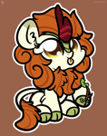 Size: 2560x3250 | Tagged: safe, artist:kimjoman, autumn blaze, kirin, :p, autumn blaze's puppet, awwtumn blaze, brown background, chibi, cloven hooves, cute, female, kimjoman is trying to murder us, kirinbetes, mare, simple background, solo, tongue out