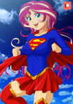 Size: 707x1000 | Tagged: safe, artist:uotapo, sunset shimmer, equestria girls, breasts, cape, clothes, costume, crossover, dc comics, female, looking at you, open mouth, skirt, solo, supergirl, superhero, superman