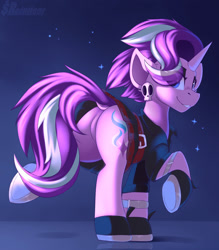 Size: 1750x2000 | Tagged: safe, artist:shadowreindeer, starlight glimmer, pony, unicorn, butt, dock, edgelight glimmer, eye clipping through hair, featureless crotch, female, gameloft interpretation, looking at you, looking back, looking back at you, mare, plot, punk, raised hoof, smiling, solo