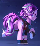 Size: 1750x2000 | Tagged: safe, artist:shadowreindeer, starlight glimmer, butt, dock, edgelight glimmer, eye clipping through hair, featureless crotch, female, gameloft interpretation, looking at you, looking back, looking back at you, mare, plot, punk, raised hoof, smiling, solo
