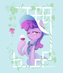 Size: 2232x2568   Tagged: safe, artist:anotherdeadrat, berry punch, berryshine, alcohol, female, food, glass, grapes, hat, high res, hoof hold, lidded eyes, neckerchief, redraw, solo, wine, wine glass