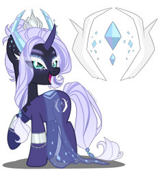 Size: 1600x1700 | Tagged: safe, artist:gihhbloonde, artist:meimisuki, oc, oc only, hybrid, pony, unicorn, adoptable, base used, black sclera, bracelet, clothes, colored sclera, crown, dress, ear piercing, earring, eyeshadow, female, horns, interspecies offspring, jewelry, makeup, mare, offspring, open mouth, parent:lord tirek, parent:rarity, parents:rarirek, piercing, raised hoof, regalia, see-through, simple background, solo, transparent background