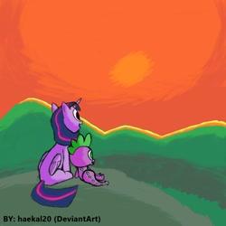 Size: 1080x1080   Tagged: safe, artist:haekal20, spike, twilight sparkle, alicorn, dragon, pony, sunset, twilight sparkle (alicorn)