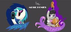 Size: 3500x1600   Tagged: safe, artist:haekal20, dj pon-3, octavia melody, vinyl scratch, earth pony, pony, unicorn, music