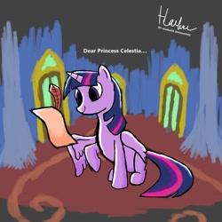 Size: 1080x1080   Tagged: safe, artist:haekal20, princess celestia, twilight sparkle, alicorn, pony, castle, quill, scroll, solo, twilight sparkle (alicorn), twilight's castle