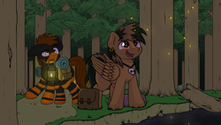 Size: 3840x2160 | Tagged: safe, artist:ljdamz1119, oc, oc only, earth pony, firefly (insect), insect, pegasus, pony, bag, commission, duo, ear piercing, earring, eye clipping through hair, forest, jewelry, lantern, male, mouth hold, necklace, night, open mouth, piercing, river, saddle bag, scenery, smiling, stallion, stream