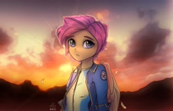 Size: 2480x1600 | Tagged: safe, artist:reterica, scootaloo, equestria girls, clothes, female, jacket, looking at you, scenery, shirt, solo, sun