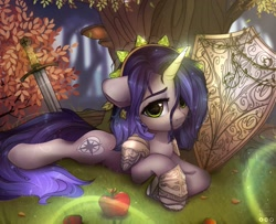 Size: 2589x2100 | Tagged: safe, artist:reterica, oc, oc only, oc:moonsonat, pony, unicorn, apple, armor, bush, female, food, glowing horn, horn, looking at you, lying down, magic, mare, scenery, shield, solo, sword, tree, weapon