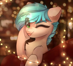 Size: 1758x1600 | Tagged: safe, artist:reterica, oc, oc only, pony, :p, abstract background, chest fluff, eye clipping through hair, eyebrows visible through hair, female, mare, one eye closed, smiling at you, solo, string lights, tongue out, wink