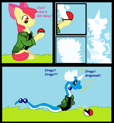 Size: 729x789 | Tagged: safe, artist:cargirl9, apple bloom, dragonair, earth pony, pony, clothes, comic, female, mare, pokefied, pokéball, pokémon, shirt, solo, speech change, transformation