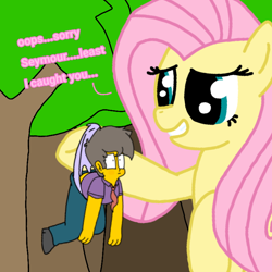 Size: 768x768 | Tagged: safe, artist:haileykitty69, fluttershy, human, pegasus, pony, accidental wedgie, crossover, crossover shipping, giantshy, my little pony, pony life reference, seymour skinner, shipping, the simpsons
