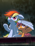 Size: 1350x1800 | Tagged: safe, artist:symbianl, rainbow dash, scootaloo, pegasus, pony, backwards cutie mark, chest fluff, duo, female, filly, looking up, mare, open mouth, rain, raised hoof, scootalove, sitting, spread wings, wing umbrella, wings