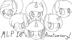 Size: 1920x1080   Tagged: safe, artist:spritepony, oc, oc only, oc:sapphire gleam, oc:snow frost, oc:sprite, oc:steelspark, oc:sweet apple harvest, oc:understudy, alicorn, earth pony, pony, unicorn, mlp fim's tenth anniversary, 10, alicorn oc, bust, earth pony oc, group, happy birthday mlp:fim, horn, lineart, sketch, unicorn oc, wings