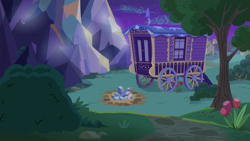 Size: 1280x720 | Tagged: safe, screencap, to where and back again, background, no pony, ponyville, scenic ponyville, tree, trixie's wagon, twilight's castle