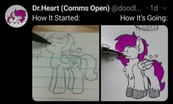 Size: 720x435 | Tagged: safe, artist:drheartdoodles, oc, oc only, oc:dr.heart, clydesdale, pegasus, mlp fim's tenth anniversary, before and after, blank flank, boop, how it started, pen, pencil, smiling, tongue out, traditional art