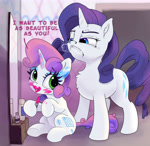 Size: 5000x4864 | Tagged: safe, artist:xbi, rarity, sweetie belle, pony, unicorn, applying makeup, blank flank, cute, diasweetes, duo, fake cutie mark, heavy makeup, horses doing horse things, horses doing human things, lipstick, looking down, makeup, mirror, rarity is not amused, snorting, tabun art-battle finished after, this will not end well, unamused