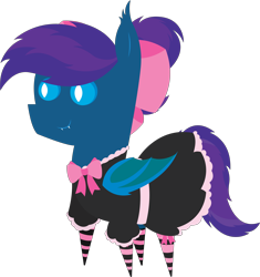 Size: 5699x6073 | Tagged: safe, artist:tikibat, derpibooru exclusive, oc, oc only, oc:stardust, oc:stardust(cosmiceclipse), bat pony, pony, bat pony oc, bat wings, bow, clothes, crossdressing, dress, ear fluff, eyeshadow, fangs, femboy, maid, makeup, male, membranous wings, pointy ponies, ponytail, simple background, slit eyes, slit pupils, socks, solo, stallion, striped socks, transparent background, wings