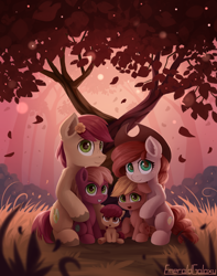 Size: 1500x1900 | Tagged: safe, artist:emeraldgalaxy, apple bloom, applejack, big macintosh, bright mac, pear butter, earth pony, pony, accessory swap, adorabloom, apple family, apple siblings, apple sisters, baby, baby apple bloom, baby pony, brother and sister, chest fluff, colt, colt big macintosh, cowboy hat, cute, ear fluff, family, family photo, father and child, father and daughter, father and son, female, filly, filly applejack, floppy ears, flower, flower in hair, hat, husband and wife, intertwined trees, jackabetes, leg fluff, looking at you, macabetes, male, mare, mother and child, mother and daughter, mother and son, open mouth, siblings, sisters, sitting, smiling, stallion, sweet dreams fuel, tree, wholesome, younger