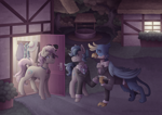 Size: 4960x3507 | Tagged: safe, artist:kikirdcz, gallus, high tide (g4), sandbar, earth pony, griffon, pony, absurd resolution, clothes, commission, date, door, fanfic art, female, gallbar, gay, gay in front of girls, house, implied gallbar, male, mother and child, mother and son, ponyville, shipping, suit, teenager, well