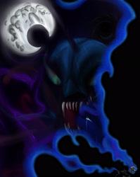 Size: 2188x2755 | Tagged: safe, artist:mixdaponies, nightmare moon, princess luna, tantabus, alicorn, skeleton pony, bone, nightmare moon moon, skeleton, space
