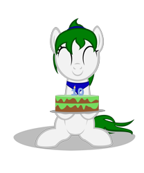 Size: 4000x4800 | Tagged: safe, artist:strategypony, oc, oc only, oc:reno, earth pony, pony, mlp fim's tenth anniversary, 10, bandana, cake, cute, eyes closed, food, happy birthday mlp:fim, missing horn, simple background, transparent background