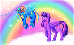 Size: 2844x1719 | Tagged: safe, artist:aaa-its-spook, rainbow dash, twilight sparkle, alicorn, pegasus, clothes, cloud, female, flying, goggles, lesbian, rainbow, shipping, twidash, twilight sparkle (alicorn), uniform, wonderbolts uniform