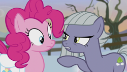 Size: 1280x720 | Tagged: safe, screencap, limestone pie, pinkie pie, earth pony, pony, hearthbreakers, female, mare, pie sisters, siblings, sisters