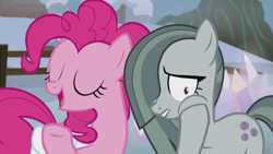 Size: 1280x720 | Tagged: safe, screencap, marble pie, pinkie pie, earth pony, pony, hearthbreakers, female, mare, siblings, sisters