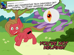 Size: 1024x768 | Tagged: safe, artist:tumble-trotter, oc, oc:pun, alien, earth pony, pony, ask pun, ask, eye, female, mare, solo, tentacles