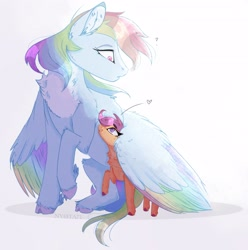 Size: 3142x3161 | Tagged: safe, artist:nyota71, rainbow dash, scootaloo, pegasus, pony, chest fluff, cloven hooves, colored hooves, colored pupils, colored wings, female, fluffy, heart, hug, multicolored wings, pale belly, pastel, rainbow wings, scootalove, sisterly love, smiling, snuggling, surprised, winghug, wings