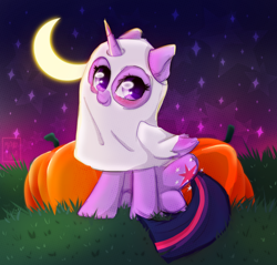 Size: 1006x960 | Tagged: safe, alternate version, artist:kebchach, twilight sparkle, alicorn, ghost, pony, undead, art, aura, clothes, costume, cute, cutie mark, drawing, fanart, grass, halloween, halloween costume, holiday, magic, moon, night, nightmare night, pumpkin, sketch, smiling, smol, solo, twiabetes, twilight sparkle (alicorn)