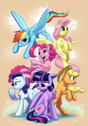 Size: 2850x4100 | Tagged: safe, artist:silverhopexiii, applejack, fluttershy, pinkie pie, rainbow dash, rarity, twilight sparkle, alicorn, earth pony, pegasus, unicorn, mlp fim's tenth anniversary, applejack's hat, chest fluff, cowboy hat, floppy ears, flying, happy birthday mlp:fim, hat, mane six, open mouth, simple background, tan background