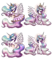 Size: 2400x2700 | Tagged: safe, artist:king-kakapo, princess celestia, alicorn, pony, :3, :t, chest fluff, clothes, cloven hooves, crown, curved horn, cute, cutelestia, dress, eyes closed, high res, horn, jewelry, leg fluff, missing accessory, rearing, regalia, simple background, smiling, spread wings, unshorn fetlocks, white background, wing fluff, wings