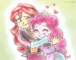 Size: 1400x1100 | Tagged: safe, artist:haden-2375, pinkie pie, sunset shimmer, equestria girls, apron, blushing, blushing profusely, clothes, eyes closed, female, floating heart, heart, hug, lesbian, shipping, sunsetpie