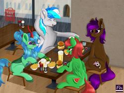 Size: 6000x4500 | Tagged: safe, oc, oc:berry mocha, oc:hawker hurricane, oc:lex rudera, oc:watermelon frenzy, earth pony, kirin, pegasus, alcohol, beer, burger, food, hamburger, rain