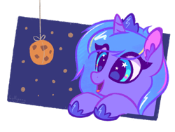 Size: 1000x750 | Tagged: safe, artist:lollipony, princess luna, pony, bust, cookie, cute, ear fluff, eye clipping through hair, eyes on the prize, female, filly, food, portrait, simple background, smiling, solo, transparent background, woona, younger