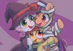 Size: 2000x1400 | Tagged: safe, artist:lexiedraw, apple bloom, scootaloo, sweetie belle, pony, undead, zombie, clothes, costume, cute, cutie mark crusaders, female, filly, halloween, halloween costume, hat, holiday, mummy, one eye closed, open mouth, pixiv, witch, witch hat