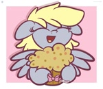 Size: 1200x1040 | Tagged: safe, artist:kimjoman, derpy hooves, pegasus, pony, bow, cute, derpabetes, eyes closed, female, food, implied doctor whooves, implied doctorderpy, implied shipping, implied straight, mare, muffin, open mouth, solo